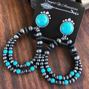Turquoise & Navajo Pearl Beaded Earrings